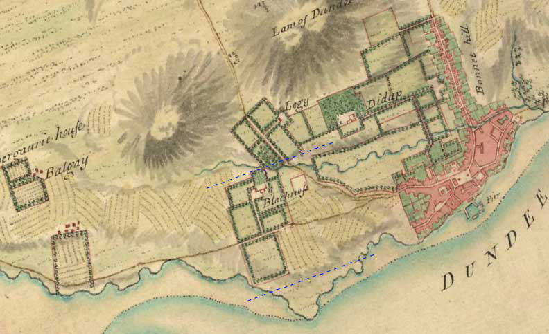 1750 map showing Blackness Estate and Dundee