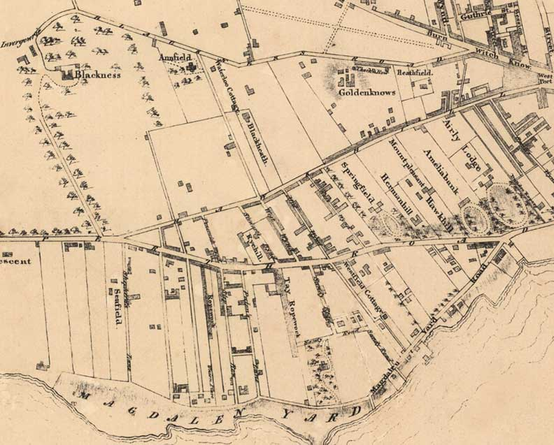 map showing Blackness estate in 1820