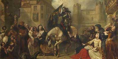 historic painting of the return from Flodden